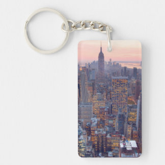 Wide view of Manhattan at sunset Double-Sided Rectangular Acrylic Key Ring
