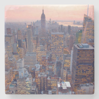 Wide view of Manhattan at sunset Stone Beverage Coaster