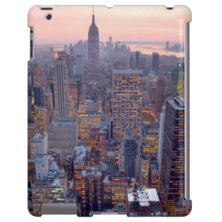 Wide view of Manhattan at sunset iPad Case