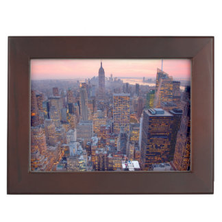 Wide view of Manhattan at sunset Keepsake Box