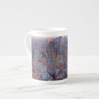 Wide view of Manhattan at sunset Bone China Mug