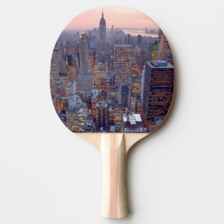 Wide view of Manhattan at sunset Ping Pong Paddle