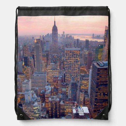 Wide view of Manhattan at sunset Drawstring Bag