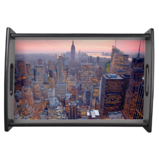 Wide view of Manhattan at sunset Food Trays