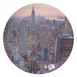 Wide view of Manhattan at sunset Dinner Plate