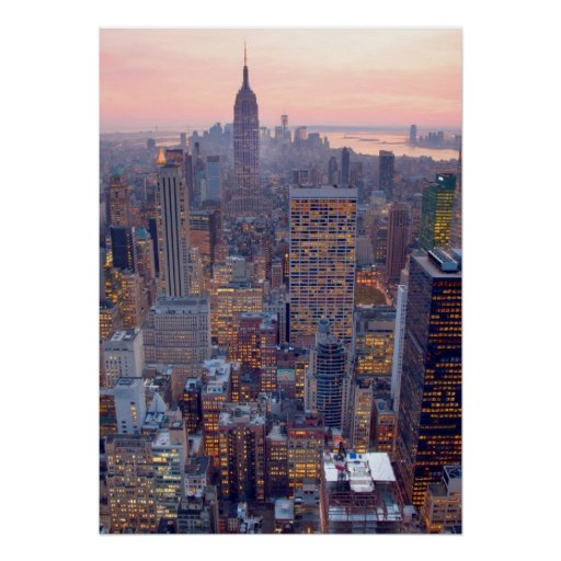 Wide view of Manhattan at sunset Poster