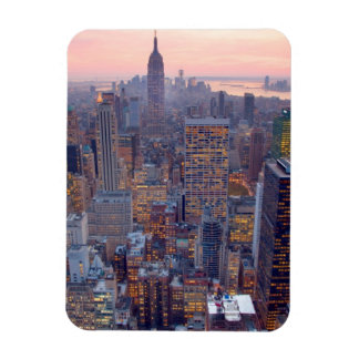 Wide view of Manhattan at sunset Flexible Magnets