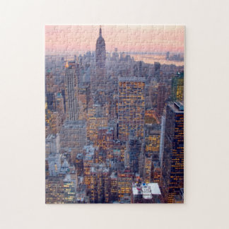 Wide view of Manhattan at sunset Puzzle