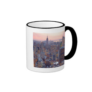 Wide view of Manhattan at sunset Ringer Mug
