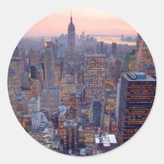 Wide view of Manhattan at sunset Round Sticker