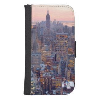 Wide view of Manhattan at sunset Samsung S4 Wallet Case