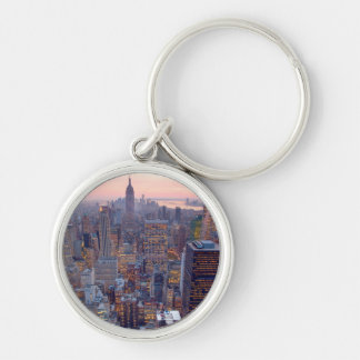 Wide view of Manhattan at sunset Silver-Colored Round Key Ring