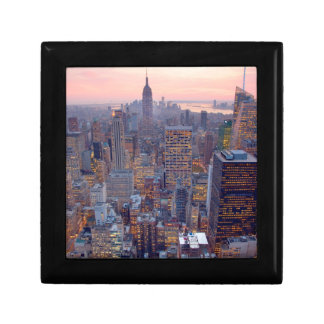 Wide view of Manhattan at sunset Small Square Gift Box