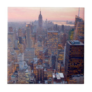 Wide view of Manhattan at sunset Small Square Tile