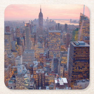 Wide view of Manhattan at sunset Square Paper Coaster