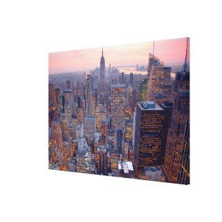 Wide view of Manhattan at sunset Stretched Canvas Print