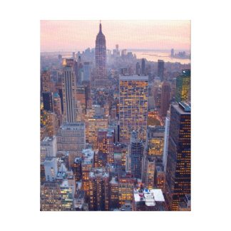 Wide view of Manhattan at sunset Stretched Canvas Prints