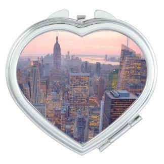 Wide view of Manhattan at sunset Vanity Mirror