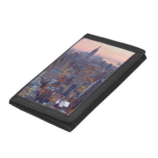 Wide view of Manhattan at sunset Tri-fold Wallets