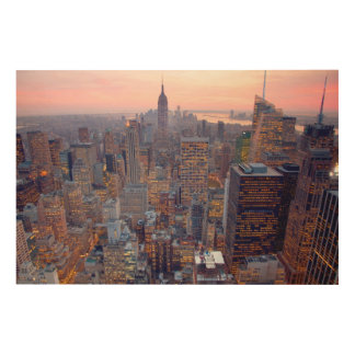 Wide view of Manhattan at sunset Wood Print