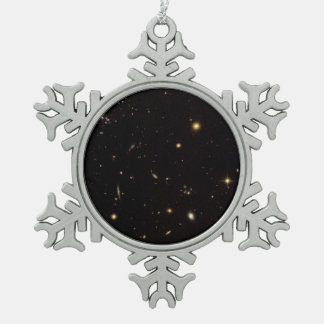 Wide View of Spiderweb Galaxy Field.ai Pewter Snowflake Decoration