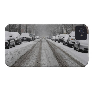 Wide view of unplowed snow covered street in iPhone 4 Case-Mate cases