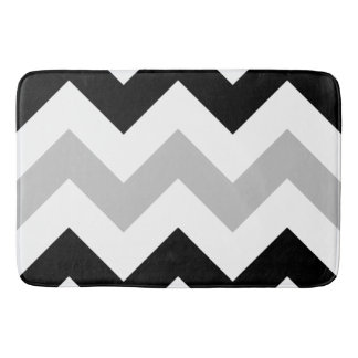 Wide Zigzag Pattern Black, Grey & White Bath Mat