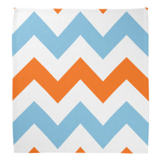 Wide Zigzag Pattern Orange White & Blue Bandana