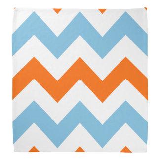 Wide Zigzag Pattern Orange White & Blue Bandannas