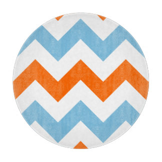 Wide Zigzag Pattern Orange White & Blue Cutting Board