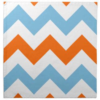 Wide Zigzag Pattern Orange White & Blue Napkin