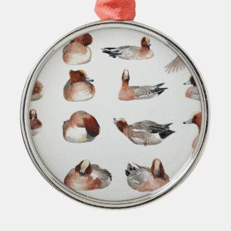 Widgeon. Waterfowl duck gift Silver-Colored Round Decoration