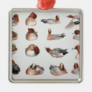 Widgeon. Waterfowl duck gift Silver-Colored Square Decoration