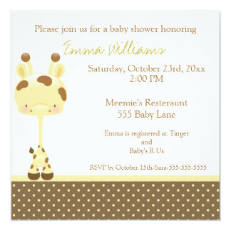 Widget Giraffe Baby Shower Invitation Girl/Boy