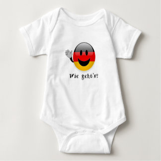 Wie geht's baby shirt, german flag smiley face, baby bodysuit