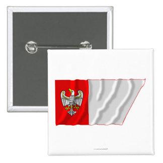 Wielkopolskie - Greater Poland waving flag 15 Cm Square Badge