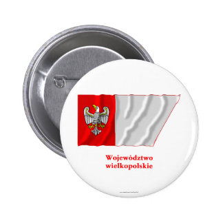 Wielkopolskie - Greater Poland waving flag with na 6 Cm Round Badge