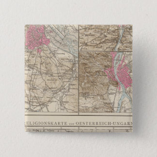 Wien, Prag, BudaPest Map 15 Cm Square Badge