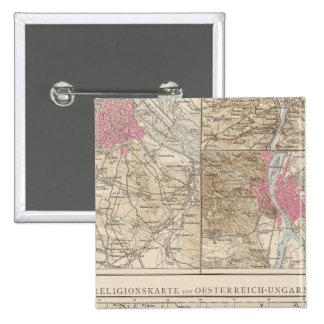 Wien, Prag, BudaPest Map 15 Cm Square Badge