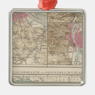 Wien, Prag, BudaPest Map Silver-Colored Square Decoration