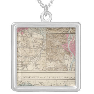 Wien, Prag, BudaPest Map Silver Plated Necklace