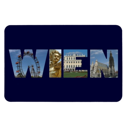 Wien Tag With Famous Landmarks Rectangular Photo Magnet