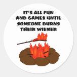 Wiener Burn Round Sticker