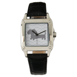 Wiener Dog Square Face Watch Trendy Gray Chevrons