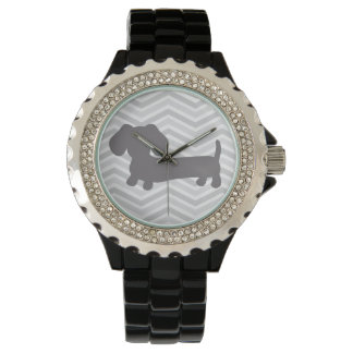 Wiener Dog Watch Trendy Gray Chevrons