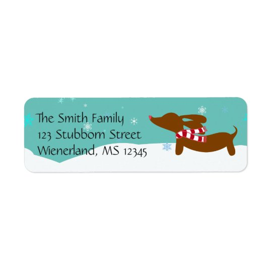 Wiener Dog Wiener Wonderland Return Address Labels