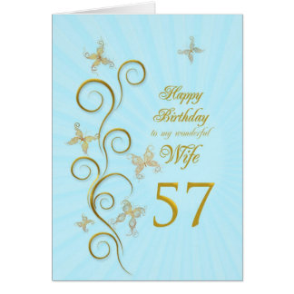 Wife 57th Birthday with golden butterflies Greeting Card