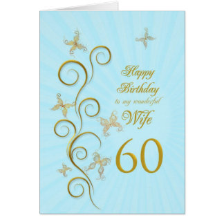 Wife 60th Birthday with golden butterflies Greeting Card