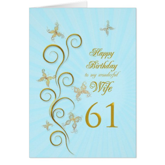 Wife 61st Birthday with golden butterflies Card