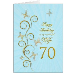 Wife 70th Birthday with golden butterflies Greeting Card